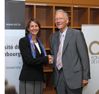 Tonika Hirdman, Director General for the Fondation de Luxembourg, and former University president Rolf Tarrach in 2013