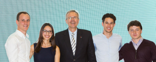Pol Reckinger, Maria Rodriguez, Paul Belissont and Yan Medernach) with President Klump (centre)